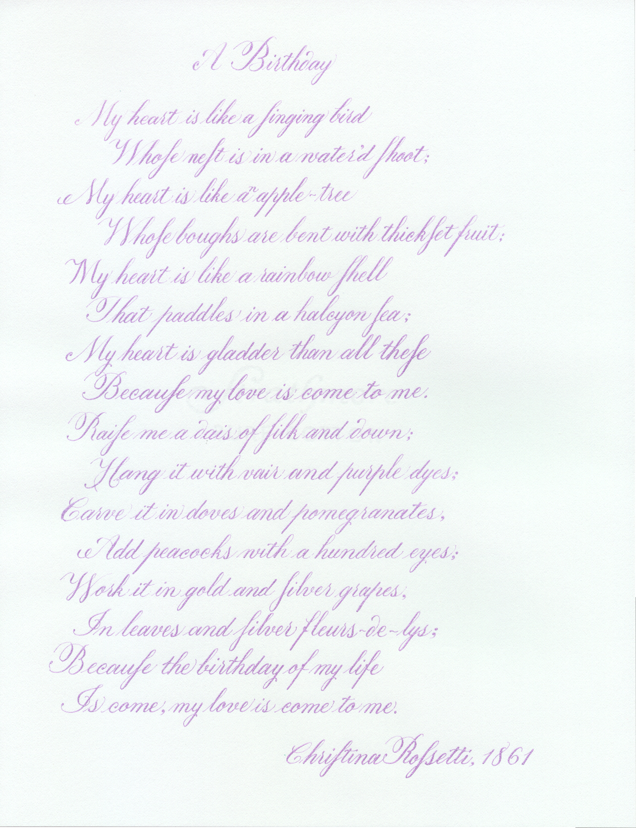 more copperplate calligraphy examples my heart is like a singing bird whose nest is in a water d